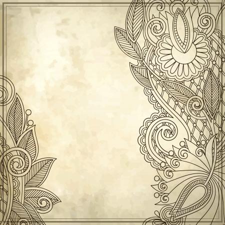 vintage style: old, ink, art, leaf, card, note, blank, retro, frame, paper, style, royal, floral, flower, vector, modern, grungy, design, sketch, banner, grunge, branch, border, natural, graphic, drawing, texture, stylish, antique, vintage, pattern, ornament, brochure,  Illustration