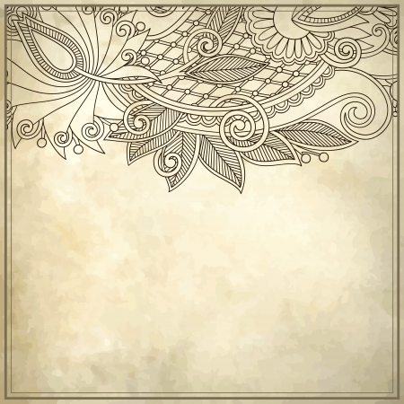 antique frame: ornamental floral pattern with place for your text, in grunge background Illustration
