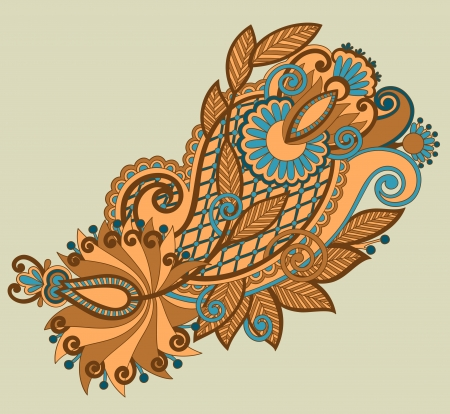 original hand draw line art ornate flower design  Ukrainian traditional style Vector