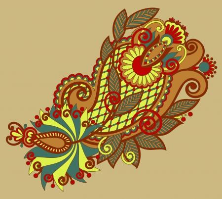 original hand draw line art ornate flower design  Ukrainian traditional style Vector