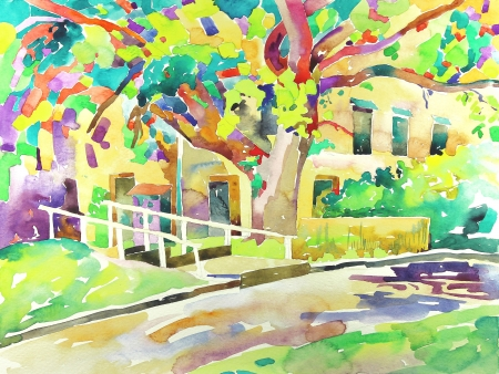landscape painting: original watercolor painting by a tree  I am author of this illustration Stock Photo