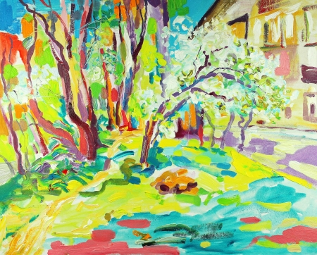 original oil painting of summer landscape  I am author of this illustration Stock Illustration - 13770496