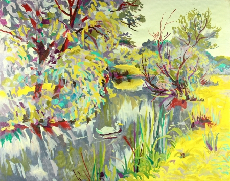 original oil painting of summer landscape  I am author of this illustration Stock Illustration - 13770495