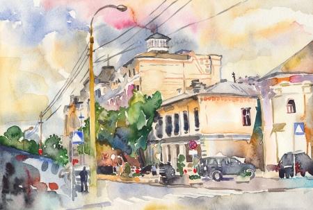 hand schilderen: originele waterverf stadslandschap Ik ben auteur van deze illustratie