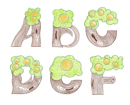 hand draw sketch marker doodle eco english alphabet  Vector