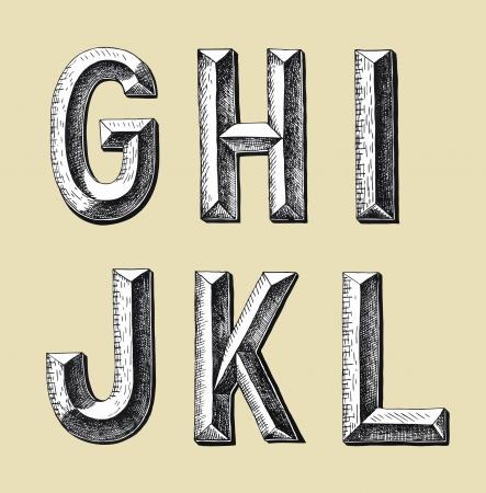 original hand draw sketch alphabet design, vector illustration Illustration