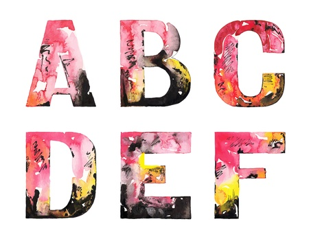 alphabet: original handmade watercolor alphabet design illustration