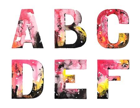 alphabet style: original handmade watercolor alphabet design illustration