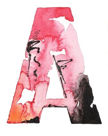 alphabet graffiti: original de la tinta acuarela hecha a mano letra del alfabeto de dise�o Foto de archivo