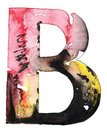 capitel: original de la tinta acuarela hecha a mano letra del alfabeto de diseño Foto de archivo