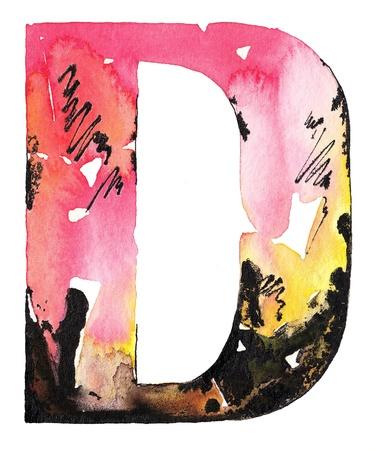 abecedario graffiti: tinta original hecho a mano acuarela letra del alfabeto dise�o Foto de archivo