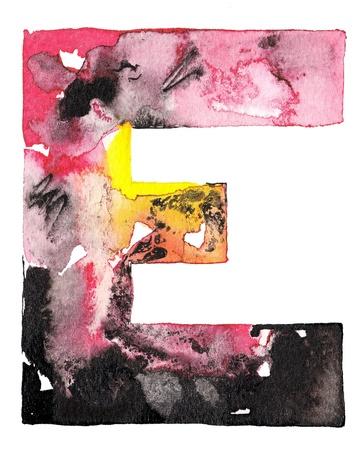 abecedario graffiti: original de la tinta acuarela hecha a mano letra del alfabeto de diseño Foto de archivo