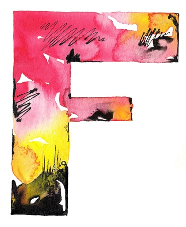 original handmade watercolor ink letter alphabet design photo