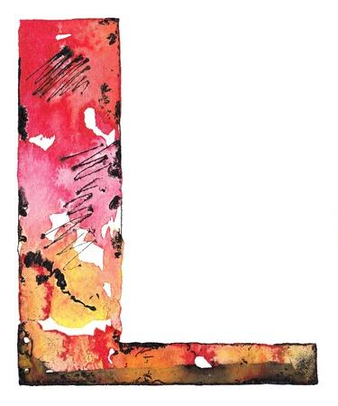 handmade graphic texture: original handmade watercolor ink letter alphabet design