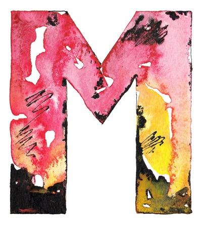original handmade watercolor ink letter alphabet design Stock Photo - 14252334