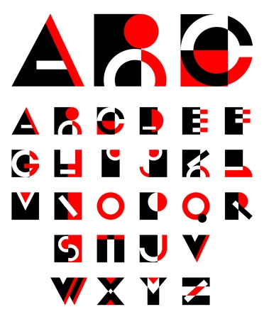 original geometric red and black alphabet design  Vector