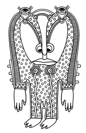 original modern cute ornate doodle fantasy monster personage Stock Vector - 14252301