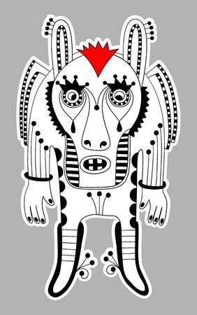 original modern cute ornate doodle fantasy monster personage Stock Vector - 14252296
