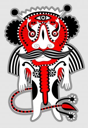 original modern cute ornate doodle fantasy monster personage Stock Vector - 14252307
