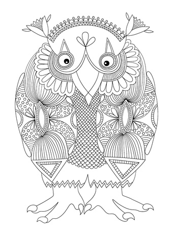 original modern cute ornate doodle fantasy monster personage, owl. Ukrainian traditional style Vector