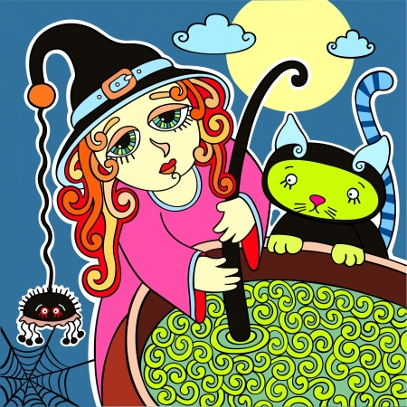 halloween, cute witch with black cat prepares potion Vector