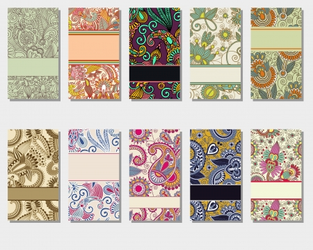 paisley background: collection of colorful floral ornamental business card element  Illustration