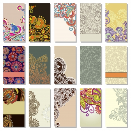 collection of colorful floral ornamental business card element Stock Vector - 14252364