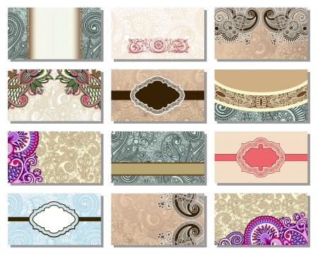 colección de colorido floral elemento ornamental tarjeta de visita Ilustración de vector