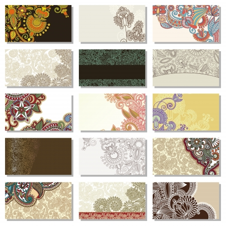 collection of colorful floral ornamental business card element Stock Vector - 14252371