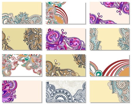 collection of colorful floral ornamental business card element Vector