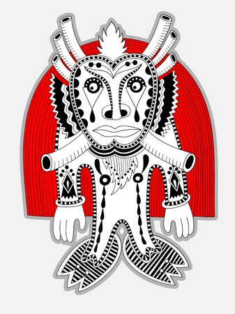 original modern cute ornate doodle fantasy monster personage  Vector