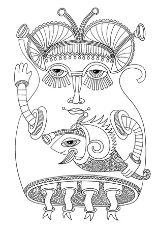 original modern cute ornate doodle fantasy monster personage Stock Vector - 14688991