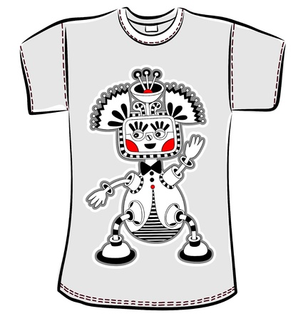 t-shirt design with original modern cute ornate doodle fantasy monster personage Stock Vector - 14688961