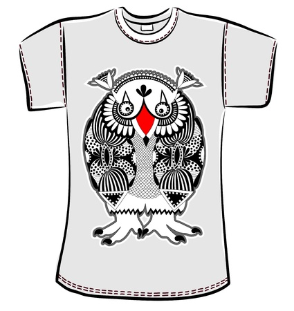 t-shirt design with original modern cute ornate doodle fantasy monster personage Stock Vector - 14688986