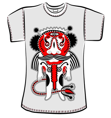 t-shirt design with original modern cute ornate doodle fantasy monster personage Stock Vector - 14688978