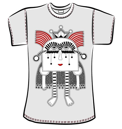 t-shirt design with original modern cute ornate doodle fantasy monster personage Vector