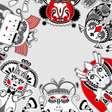 deliveryman: original modern cute ornate doodle fantasy monster personage pattern with place for your text Illustration