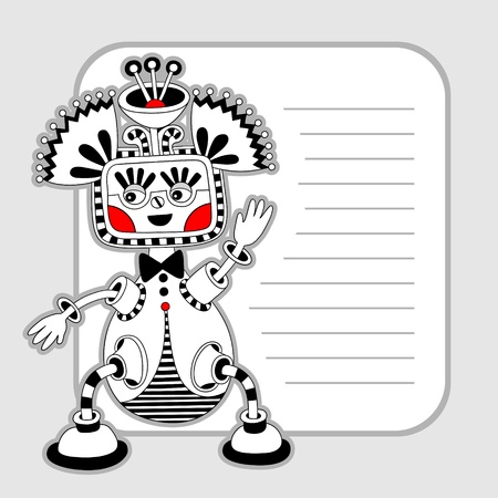 original modern cute ornate doodle fantasy monster personage pattern with place for your text Vector
