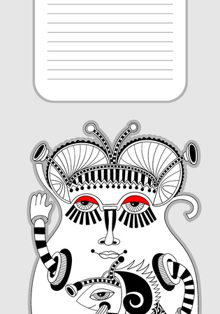 personage: original modern cute ornate doodle fantasy monster personage pattern with place for your text Illustration