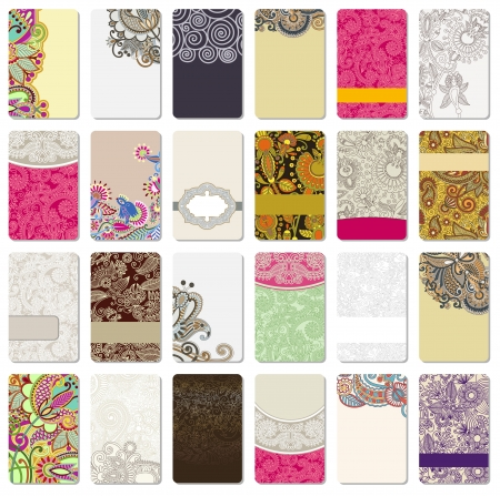 paisley background: collection of colorful floral ornamental business card element