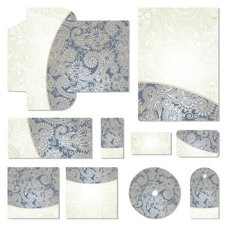 cd label: ornate floral business style templates  Illustration