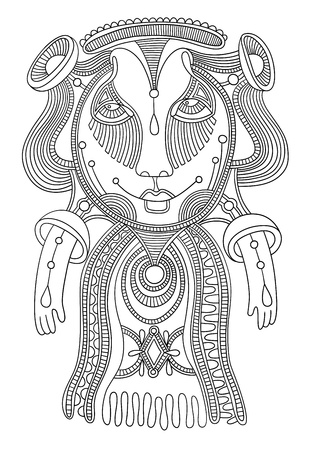 personage: original modern cute ornate doodle fantasy monster personage  Karakoko style Illustration