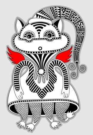 original modern cute ornate doodle fantasy monster personage  Karakoko style Vector