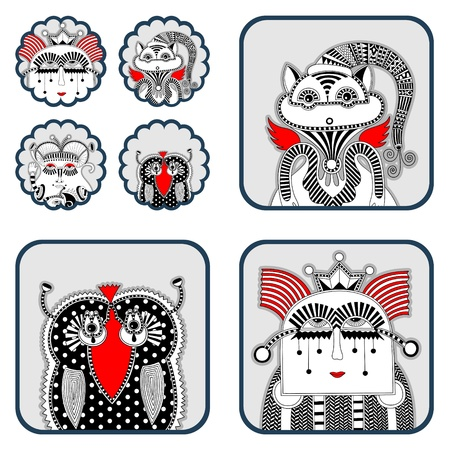 original modern cute ornate doodle fantasy monster personage  Karakoko style Stock Vector - 14688999