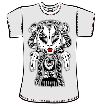 personage: t-shirt design with original modern cute ornate doodle fantasy monster personage