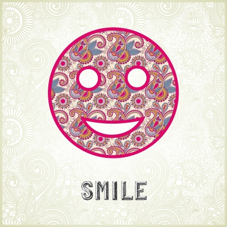 Pink ornamental pattern smile face silhouette Stock Vector - 14689022