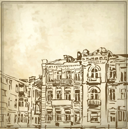 historical building: Sketchy drawing of historical building in grunge background  My own artwork
