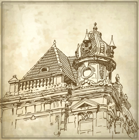 Sketchy drawing of historical building in grunge background  My own artwork Vector