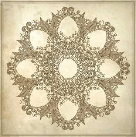 Ornamental circle floral pattern in grunge background