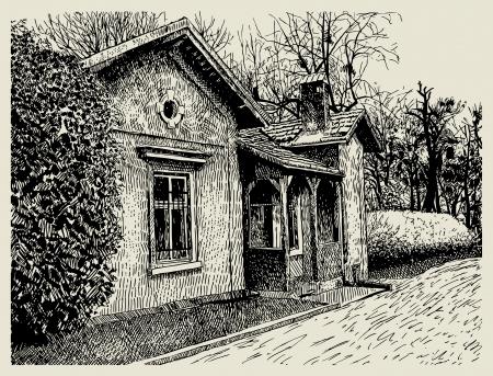granero: dibujo a mano incompleta aldea art�stico composici�n del paisaje con el edificio viejo soy autor de esta ilustraci�n Vectores